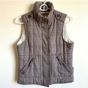 Heritage 1981 Size S Brown Plaid Vest Zip Pockets
